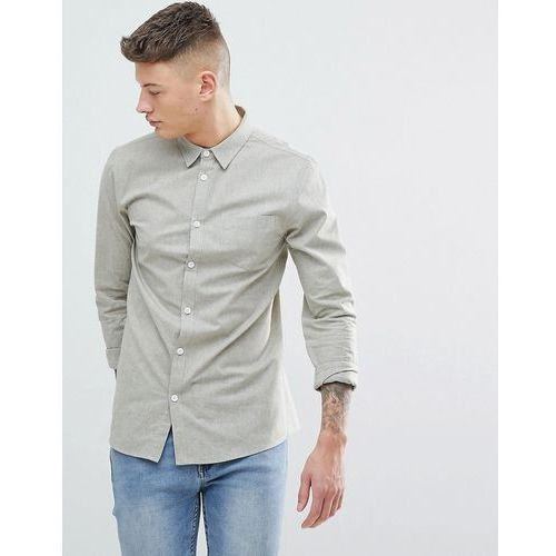 Another Influence Plain Chambrey Long Sleeve Shirt - Green, w 2 rozmiarach