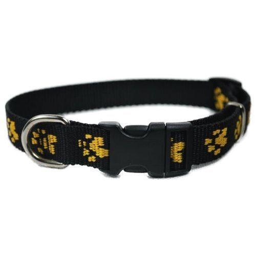 Chaba obroża taśmowa regulowana kolor: czarny w łapki żółte 20mm / 46cm (5905133609906)