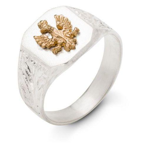 Sygnet srebrny ze złotym orłem