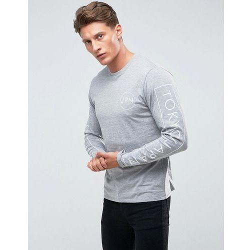 Threadbare sleeve print long sleeve top - grey