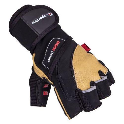 Insportline Skórzane rękawice do ćwiczeń fitness na siłownie trituro, czarno-żółty, s