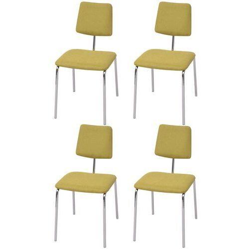 vidaXL Krzesła jadalniane materiałowe, zielone, 4 szt.