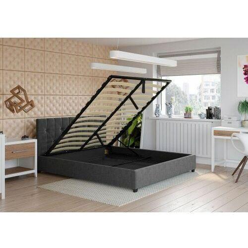 Łóżko 180x200 tapicerowane modena + materac + pojemnik sawana ciemno szare marki Big meble