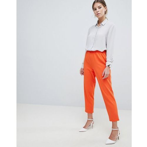ASOS DESIGN Pull On Tapered Trousers In Jersey Crepe - Orange, kolor pomarańczowy