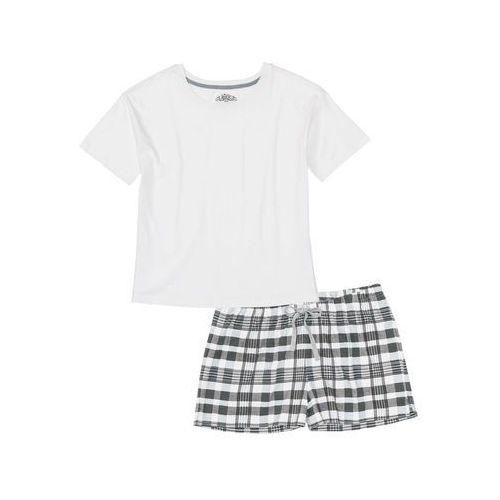 Bonprix Piżama z krótkimi spodenkami biel wełny - szary wzorzysty