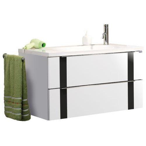 Lanzet Szafka łazienkowa biała z umywalką vedro 90 - 90 cm \ biały wysoki połysk \ czarna