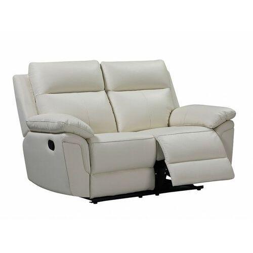 Sofa 2-osobowa z mechanizmem relaksu ze skóry bawolej pakita - kość słoniowa marki Vente-unique