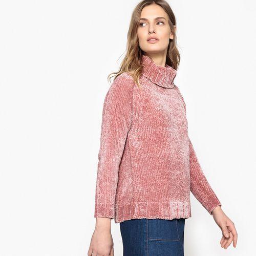 Sweter z golfem z grubej dzianiny, kolor różowy