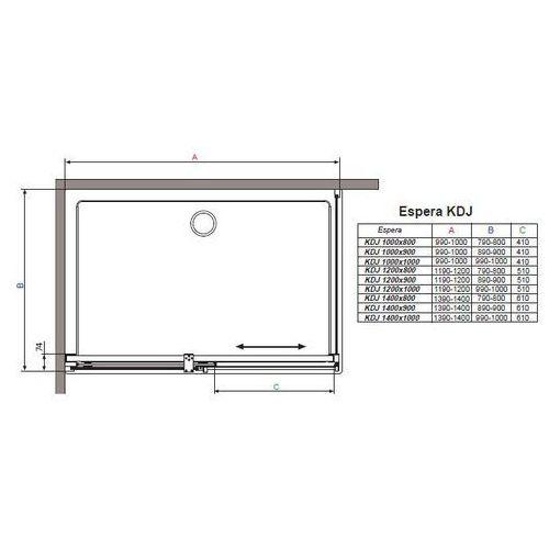 Radaway Espera  90 x 100 (380130-01R-380149-01R)