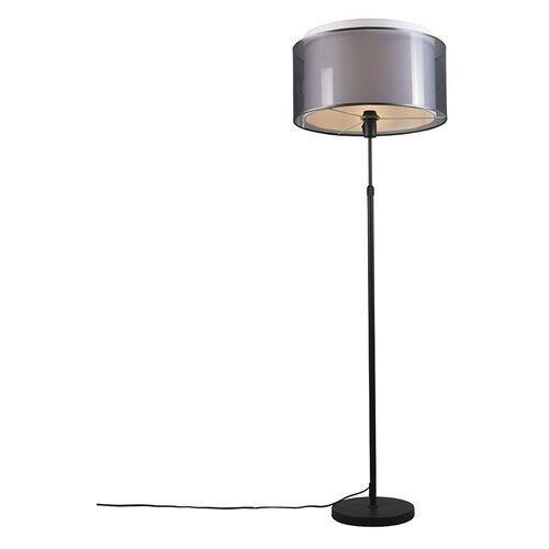 Qazqa Lampa podłogowa regulowana czarna klosz czarno-biały 47cm - parte