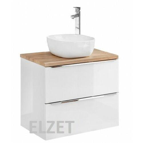 COMAD szafka Capri White 60 2S biały połysk/dąb craft złoty pod umywalkę nablatową + blat 60 dąb CAPRI WHITE 820 + CAPRI OAK 890