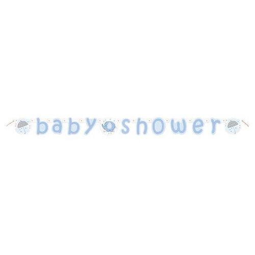 Niebieski baner na Baby Shower Słonik z parasolem - 160 cm - 1 szt.