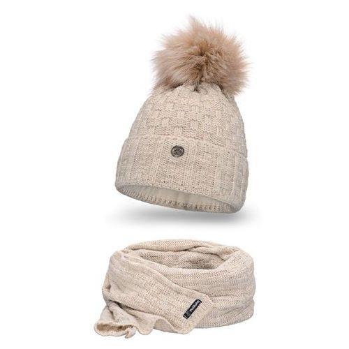 Komplet PaMaMi, czapka i szalik - Beżowy - Beżowy (5902934056007)