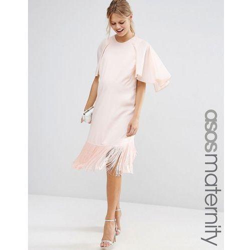 t-shirt dress with fringe hem and flutter sleeve - pink, marki Asos maternity