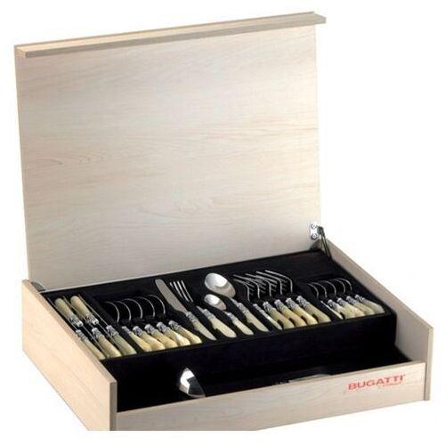 - aladdin - komplet 50 sztućców w drewnianej skrzynce - perłowa kość słoniowa marki Casa bugatti