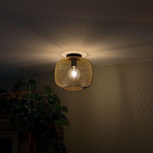 Qazqa Nowoczesna czarna ze złotą lampą sufitową - bliss mesh