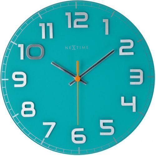 Nextime Okrągły zegar ścienny classy 30 cm, turkusowy (8817 tq)