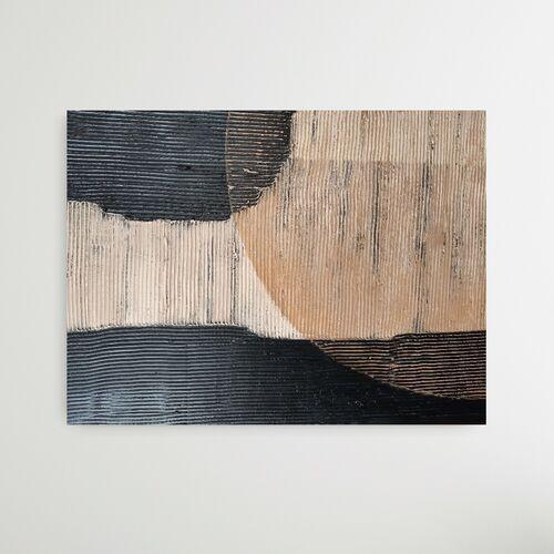 ARTISTICO - Obraz abstrakcja z modnym motywem geometrycznych plam przeplecionych z chropowatą strukturą.