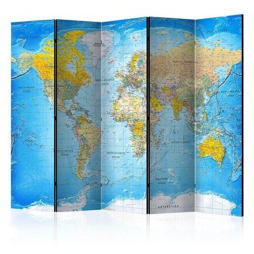 Parawan 5-częściowy - klasyczna mapa świata [room dividers]