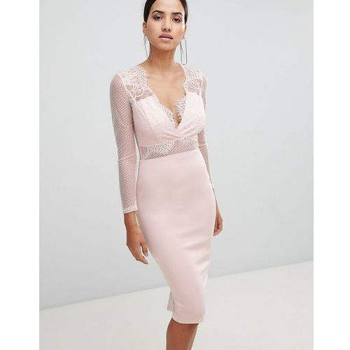 long sleeved waisted midi bodycon dress - pink, Ax paris
