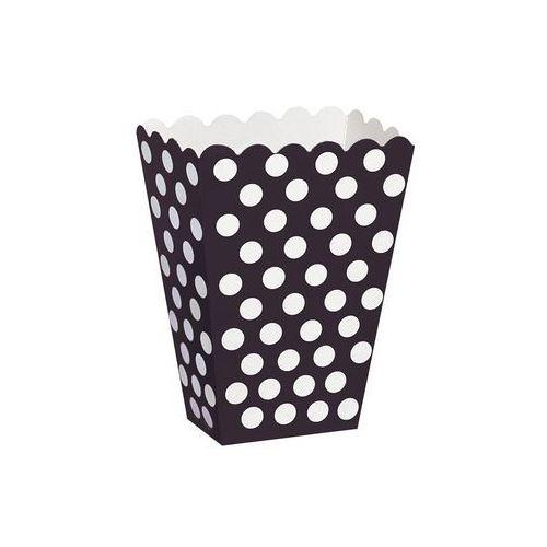 Pudełka na popcorn czarne w białe kropki - 8 szt. marki Unique