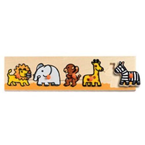 Drewniana układanka z uchwytami safari wyprodukowany przez Djeco
