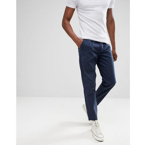 elastic waist cropped chino trousers - navy, D-struct