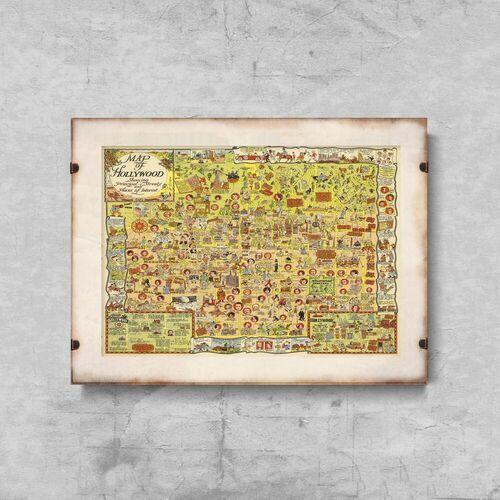 Plakat w stylu retro plakat w stylu retro stara mapa hollywood los angeles marki Vintageposteria.pl