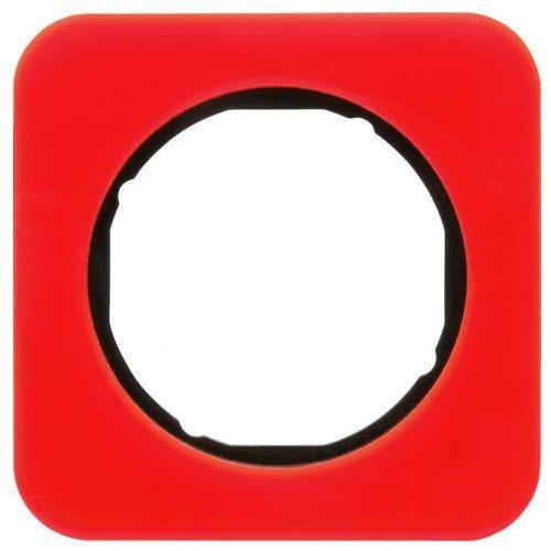 Ramka 1-krotna Berker R.1 akryl przeźroczysty czerwony/czarny