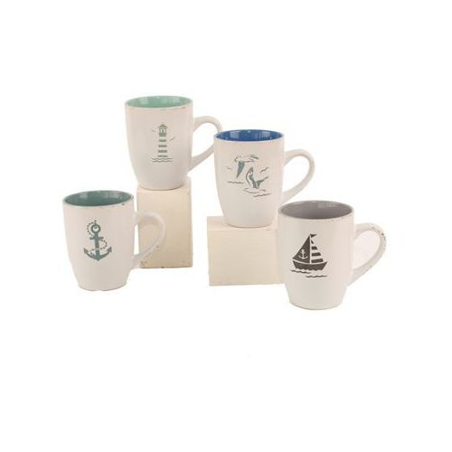Zestaw 4 kubków - kotwica - latarnia morska - żaglówka - mewa - kubek marki Nauticdecor