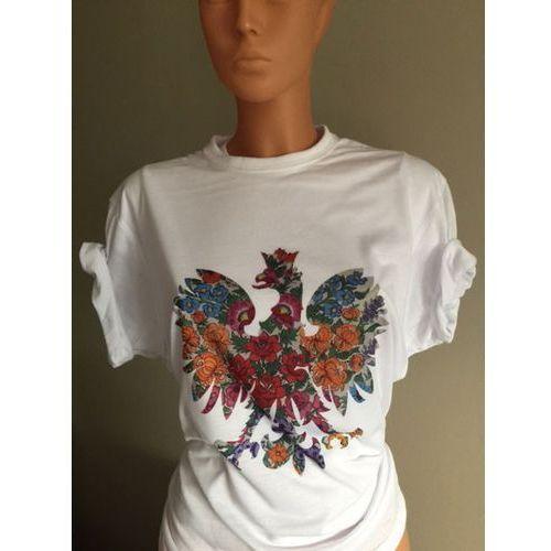 Valento T-shirt koszulka z orłem orzeł ludowy kwiaty patriotyczna folk l bialy