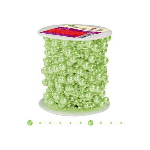Titanum Girlanda perłowa sznurek z perełkami zielony 20m - zielony / perłowy