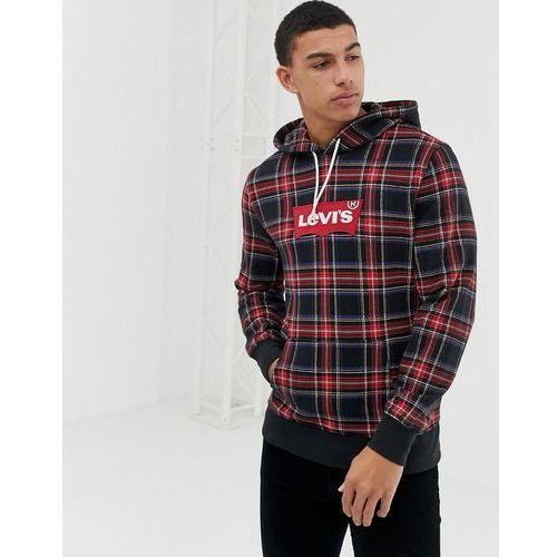 Levi's batwing logo check hoodie in black/red - black marki Levis
