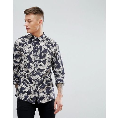 New look regular fit shirt with feather print in black - black