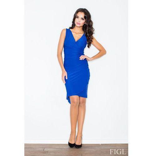Niebieska asymetryczna sukienka modnie marszczona marki Figl