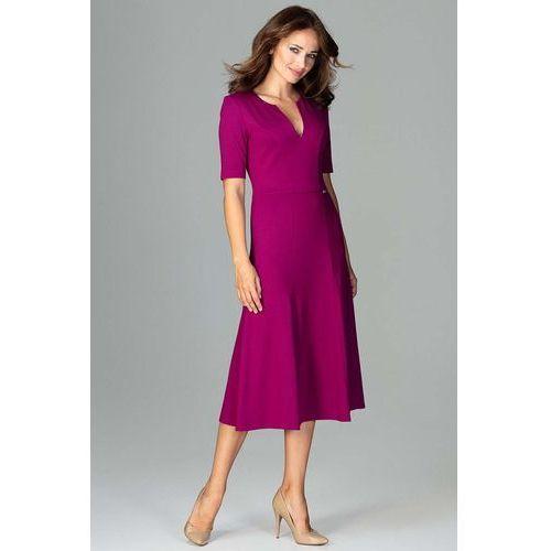 cd6281d9aa Fuksja Koktajlowa Sukienka Midi z Wycięciem V przy Dekolcie