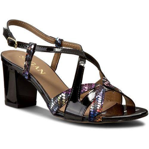 Sandały SAGAN - 2530 Czarny Lakier/Multicolor Kwiaty, kolor wielokolorowy