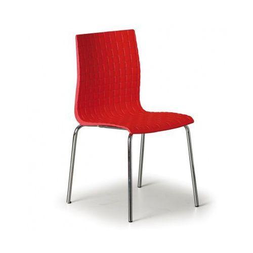 Krzesło plastikowe MEZZO, czerowne