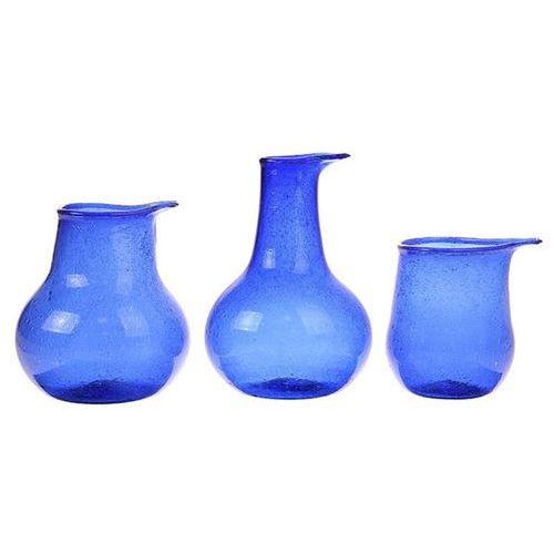 HK Living Zestaw 3 szklanych wazonów kobaltowe AGL4433, AGL4433