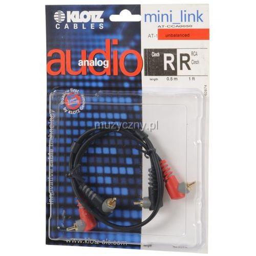 Klotz AT CCA0050 kabel 2xRCA kątowy / 2xRCA kątowy 0,5m