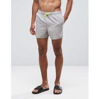 swim shorts in stone with neon yellow triangle logo short length - beige, Asos, XS-XXL