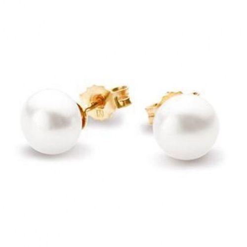 Złote kolczyki kzn4681 - naturalne perły hodowlane słodkowodne marki Staviori