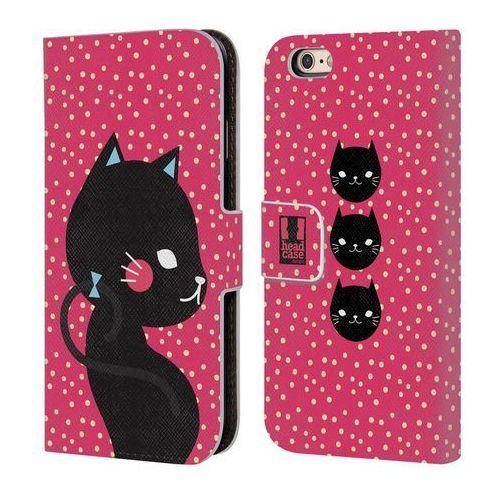 Etui portfel na telefon - Cats and Dots Black Cat in Pink