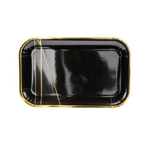 Party deco Talerzyki czarne ze złotym wzorem - 22 cm - 6 szt. (5900779114579)