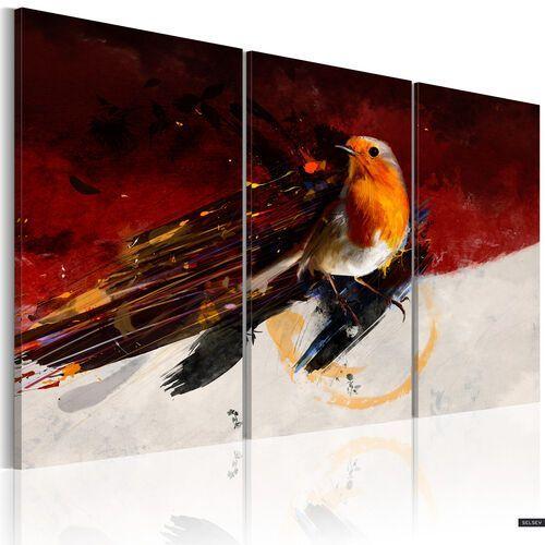 Selsey obraz - mały ptaszek na czerwono-białym tle 120x80 cm