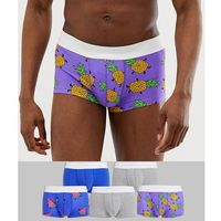 short trunks in tropical fruit print 5 pack multipack saving - multi, Asos design, XS-S