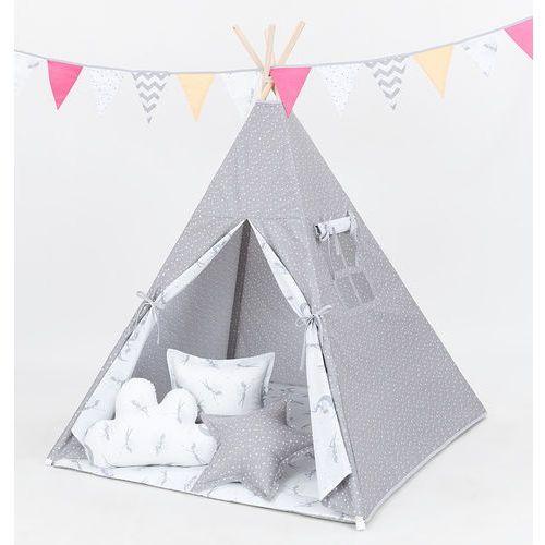 namiot tipi z matą i poduszkami mini gwiazdki białe na szarym / wróżki szare marki Mamo-tato