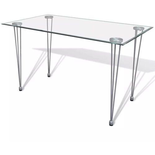 Stół ze szklanym, przezroczystym blatem