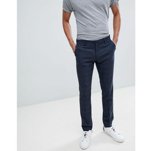 Selected Homme Skinny Suit Trouser In Navy Check With Stretch - Navy