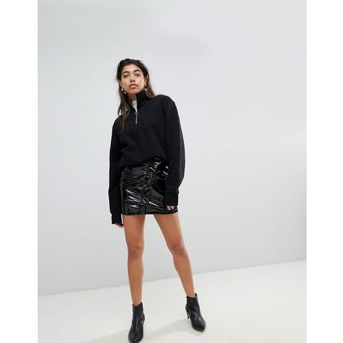 Mango Vinyl Ruffle Front Mini Skirt - Black